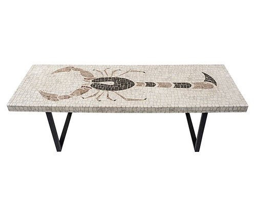 Mosaic Marble Top Coffee Table Inset with Design o