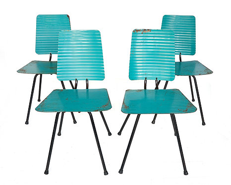 Rare set of four metal chairs with original green paint French circa 1950s