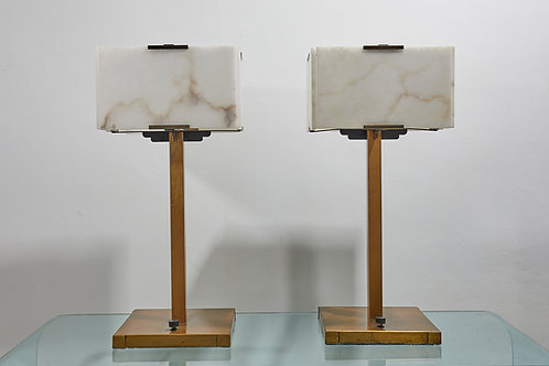 Chic pair of lacquered Brass and Alabaster lamps