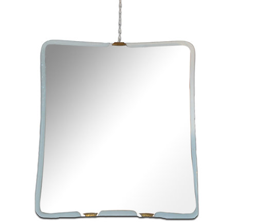 Chic glass bordered mirror with lacquered brass