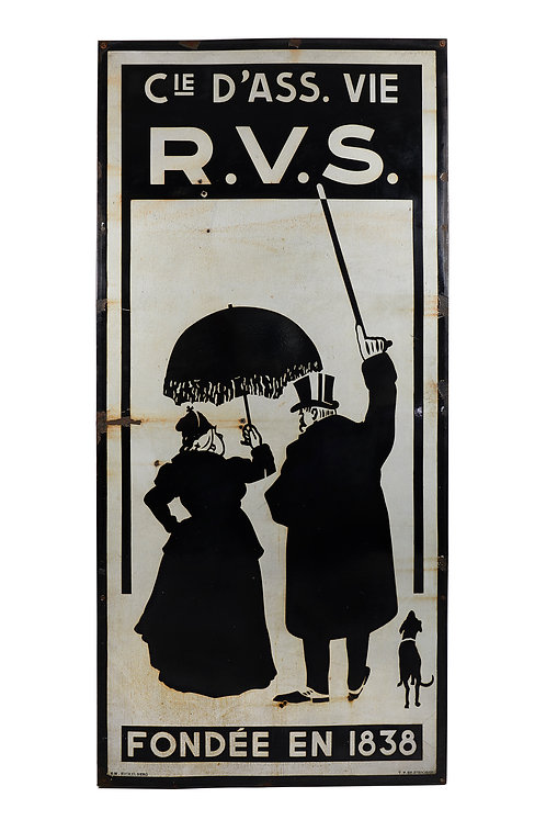 Large Rare French enamel advertising sign for life assurance.