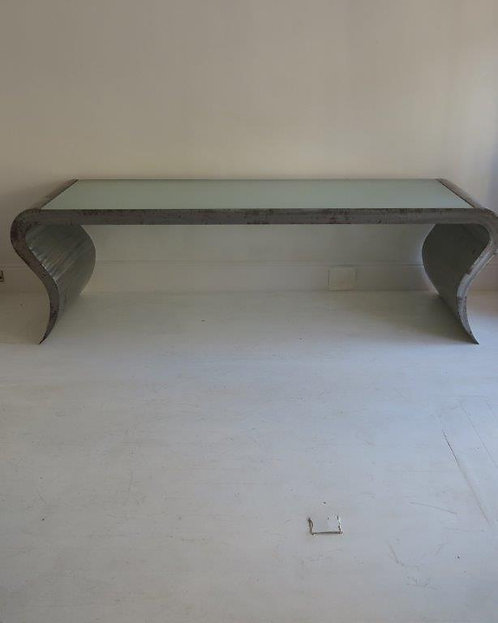 Amazing rare patinated steel console table