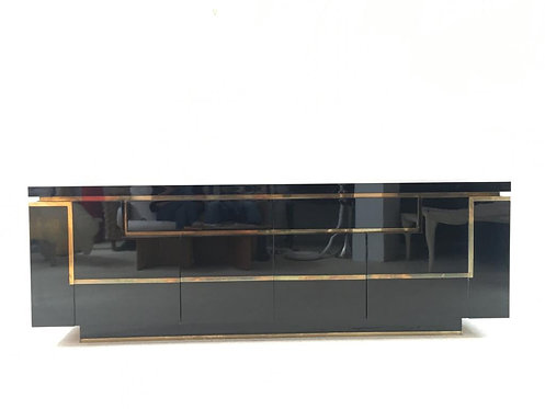 Jean Claude Mahey Black lacquer and brass cabinet of rare long proportions