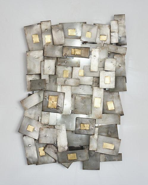 Steel and brass sculpture wall light by FIXA