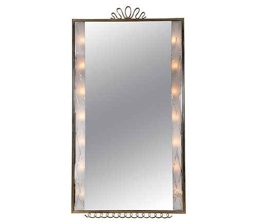 Lacquered Brass Mirror by Paolo Buffa, Italian 1940's