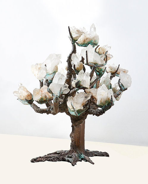 Bronze and crystal tree sculpture, signed on base Jose Chapellier
