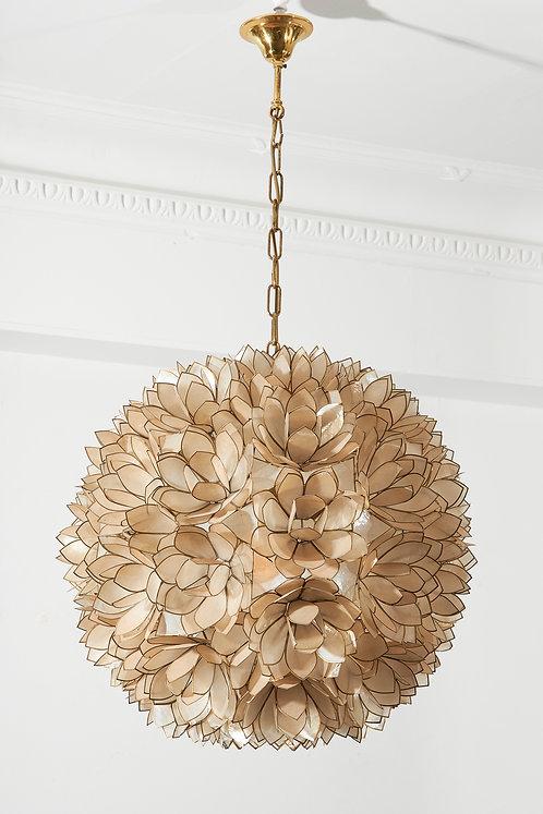 Shell and brass flower hanging light