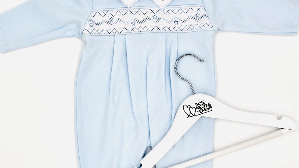 Blue Baby Smocked Romper