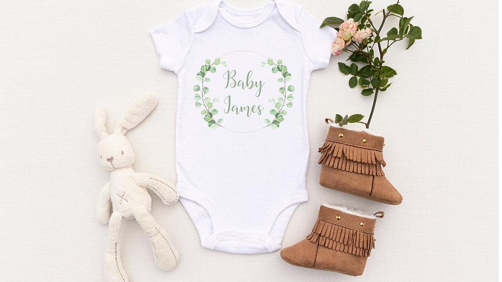 Personalised Eucalyptus Wreath Baby Vest/ Romper