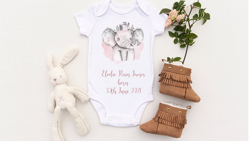 Personalised Pink Elephant Birth Announcement Baby Vest/ Romper
