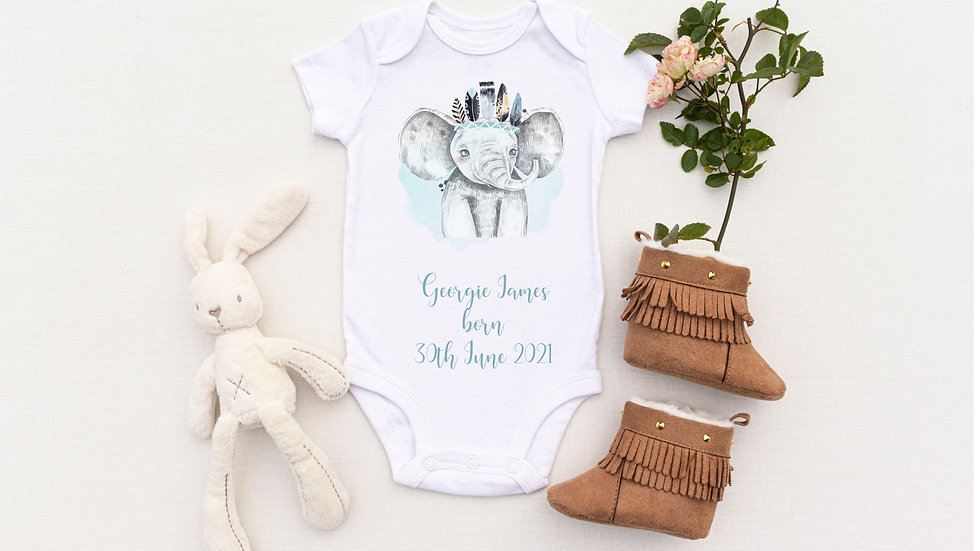 Personalised Blue Elephant Birth Announcement Baby Vest/ Romper