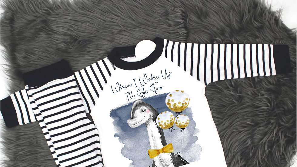 Navy Dino Pjs - When I Wake Up I'll Be Two