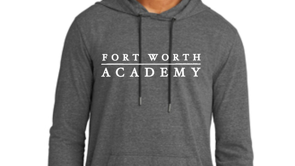 Heathered Gray Long Sleeved Performance Fabric Hooded T Shirt