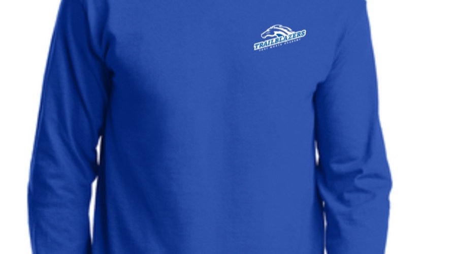 Royal Blue Long Sleeved Ring Spun Trailblazers Shirt