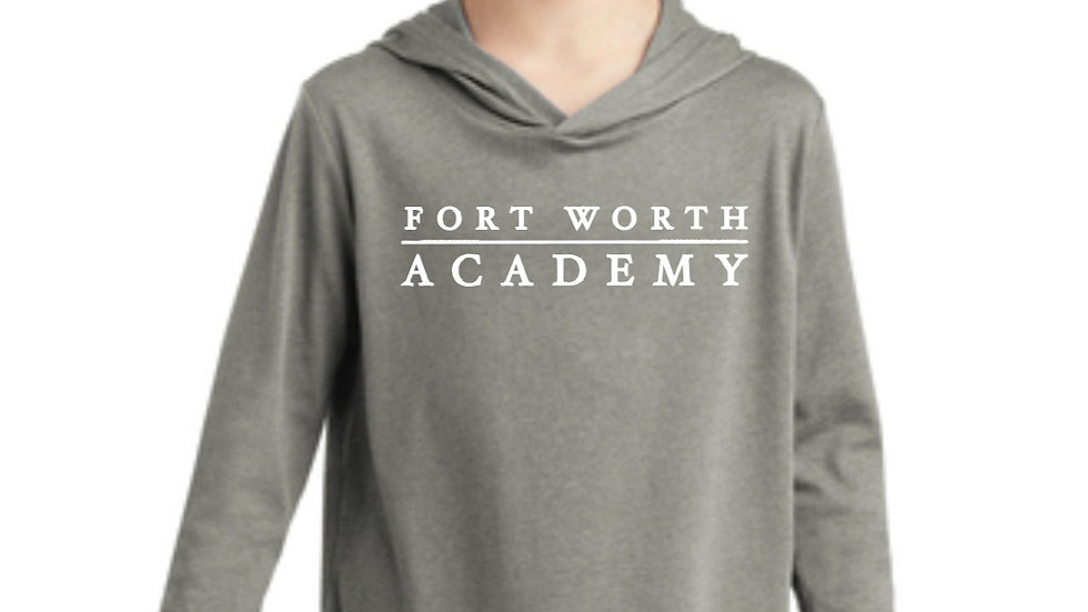 Youth Light Gray Long Sleeved Hooded T Shirt