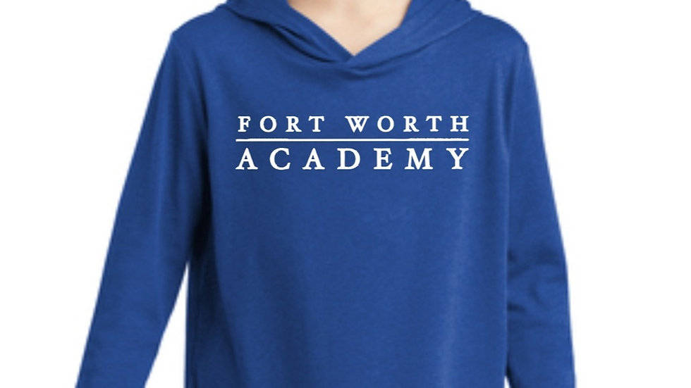 Youth Royal Blue Long Sleeved Hooded T Shirt