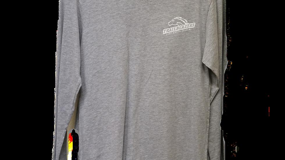Light Gray Long Sleeved Ring Spun Trailblazers Shirt