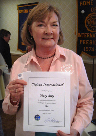 Civitan Mary Arey earns recruitment award