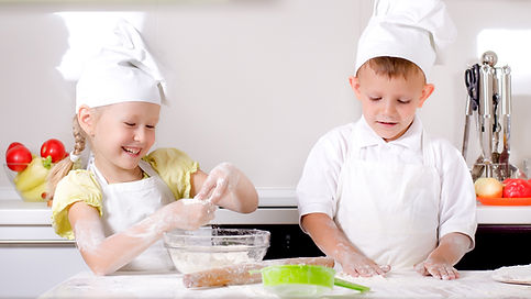 kid's cooking with chef hats