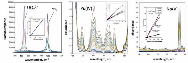 Raman spectrum of uranium  and UV-Vis-NIr absorption spectra of plutonium and neptunium