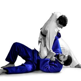 Young sporty men practicing martial arts