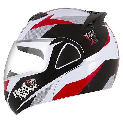 Capacete V-Pro Jet Red Nose Branco - Vermelho