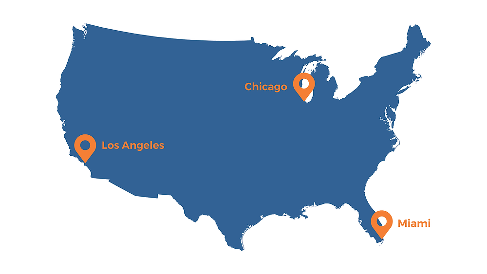 Satellite offices in Miami, Chicago and Los Angeles. Adapted from vecteezy.com