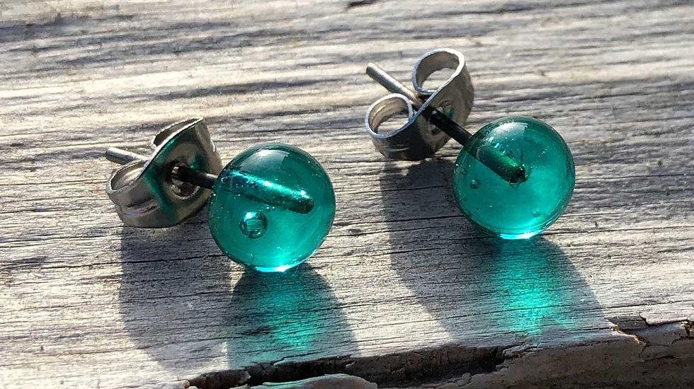 "Ohrstecker Glas ""blaugrün"""
