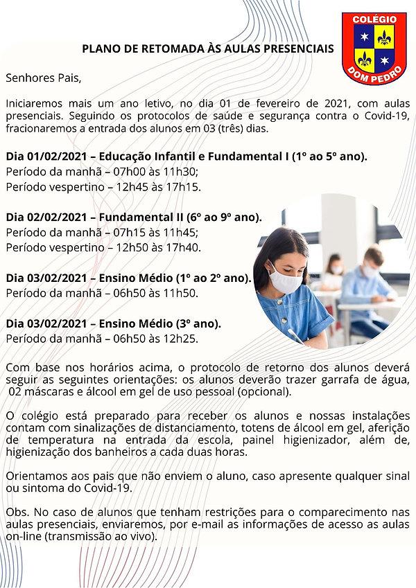 PLANO DE RETOMADA ÀS AULAS PRESENCIAIS S