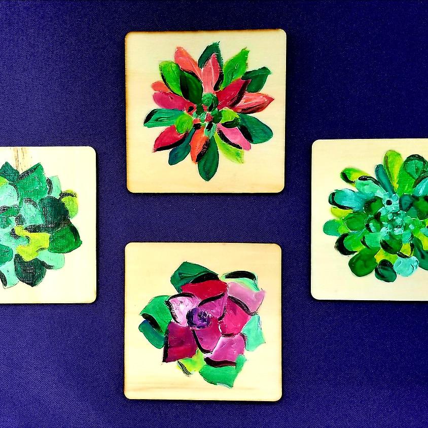 Succulent Wood Coasters