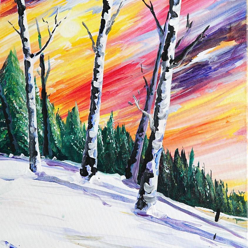 Colorful Winter Birches