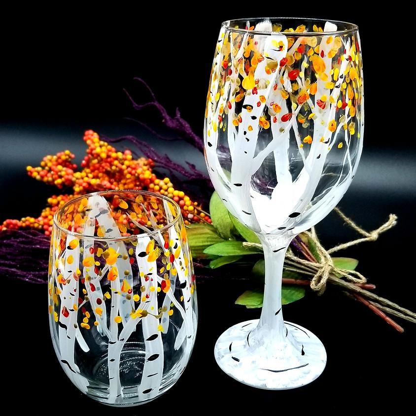 Birch Tree Hand Painted Wine Glasses ( set of 2)