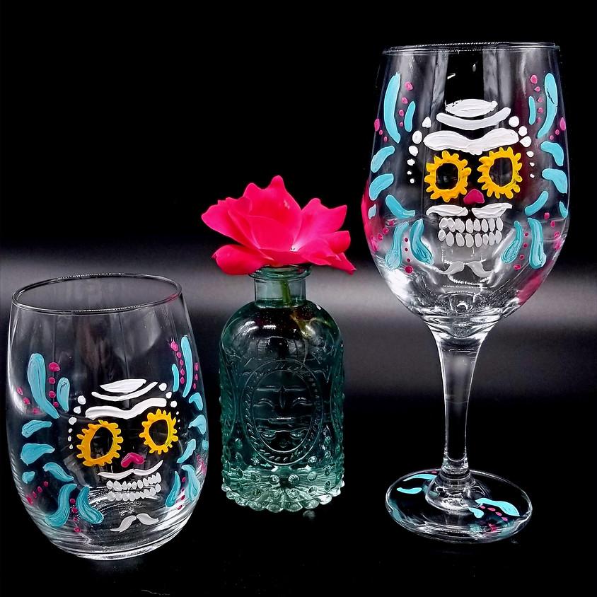 Sugar Skull Hand Painted Wine Glasses ( set of 2)   (1)