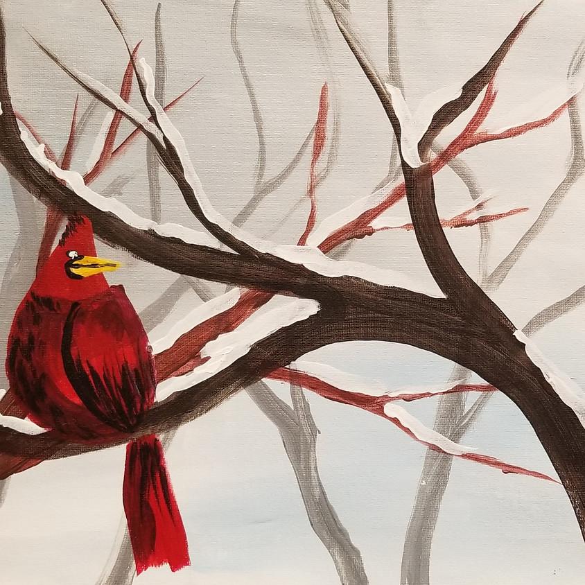 Kreative Kids: Cardinal In Snow (1)