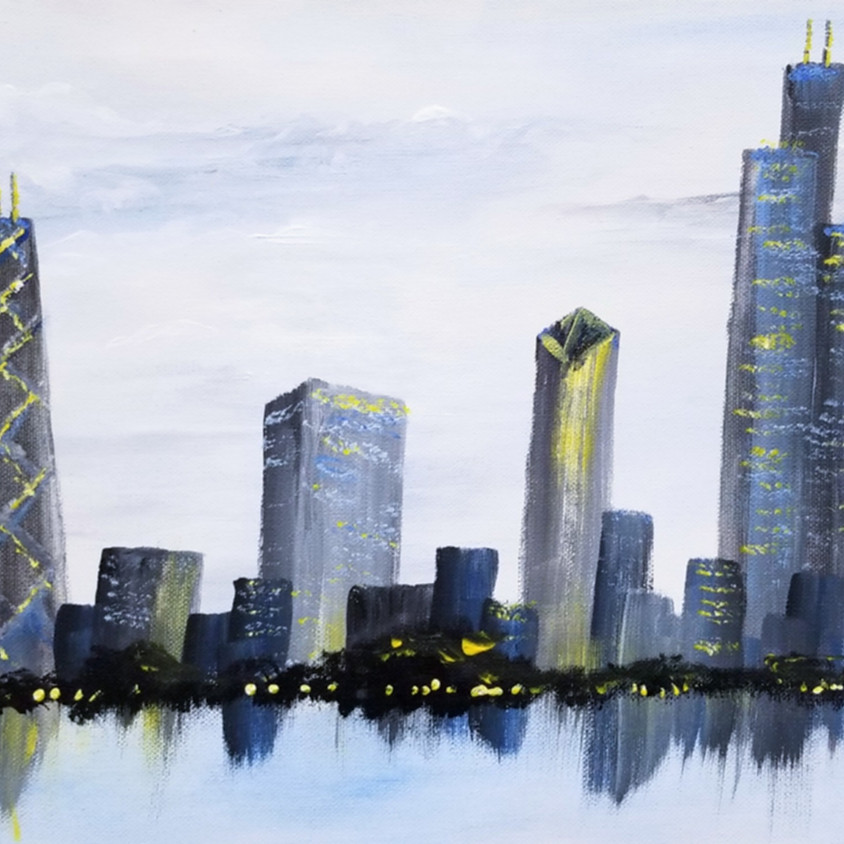 Muted Cityscape on a Horizontal Canvas
