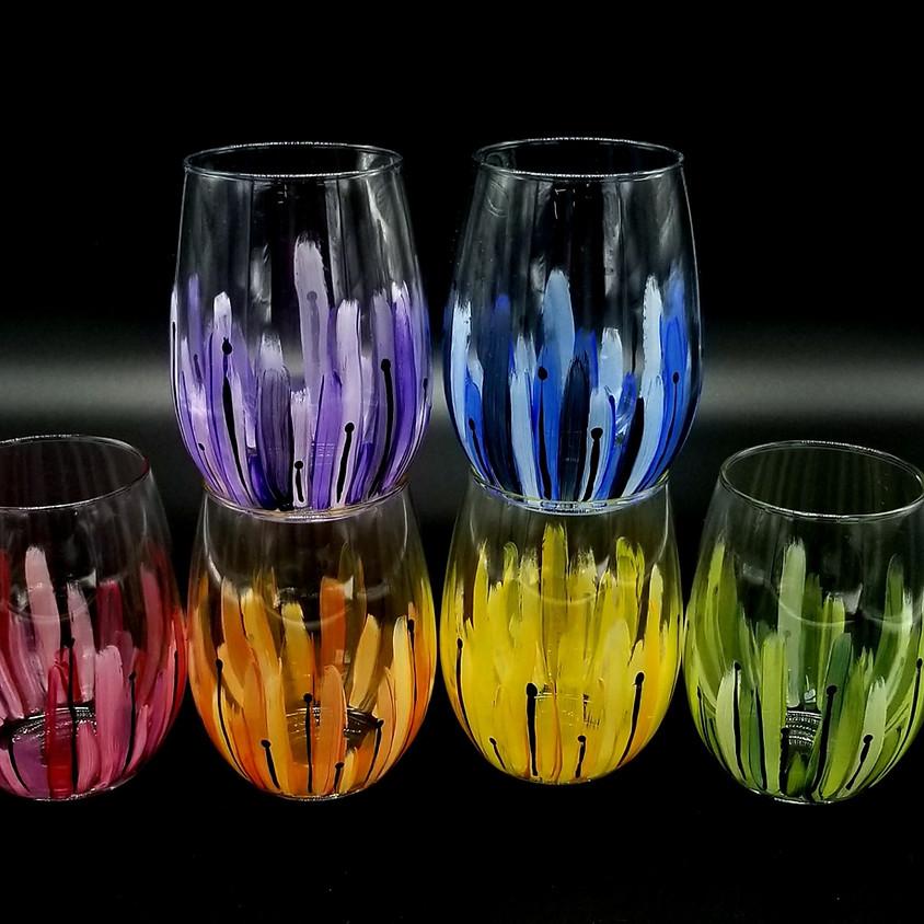 Sunburst Hand Painted Wine Glasses