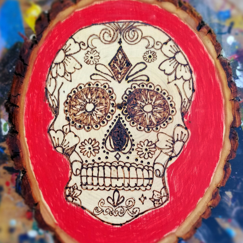 Pyrography:  Sugar Skull Wood Burning