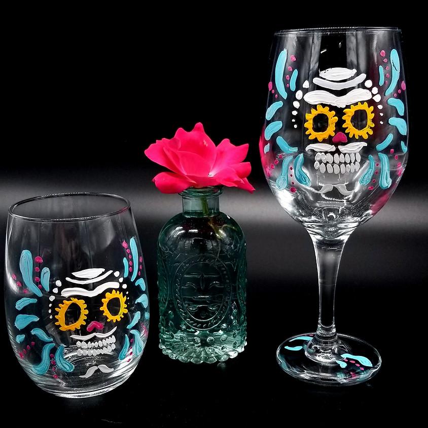 Sugar Skull Hand Painted Wine Glasses TOGO
