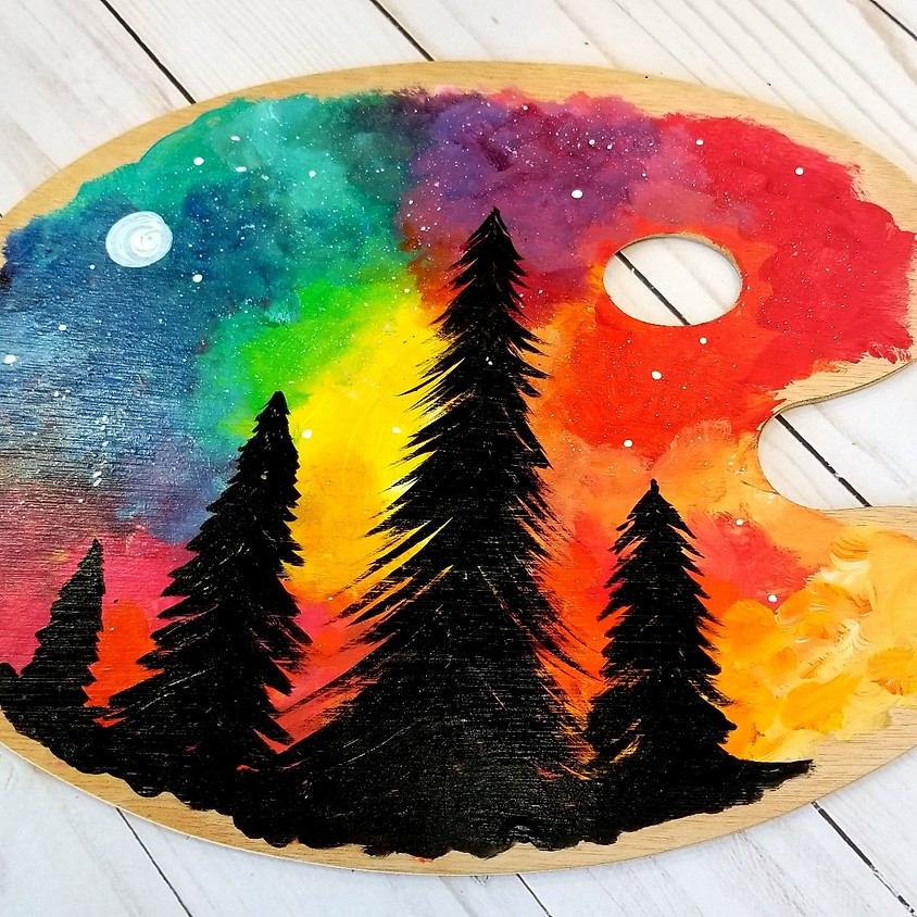 Kreative Kids: Colorful Forest on a Wood Palette
