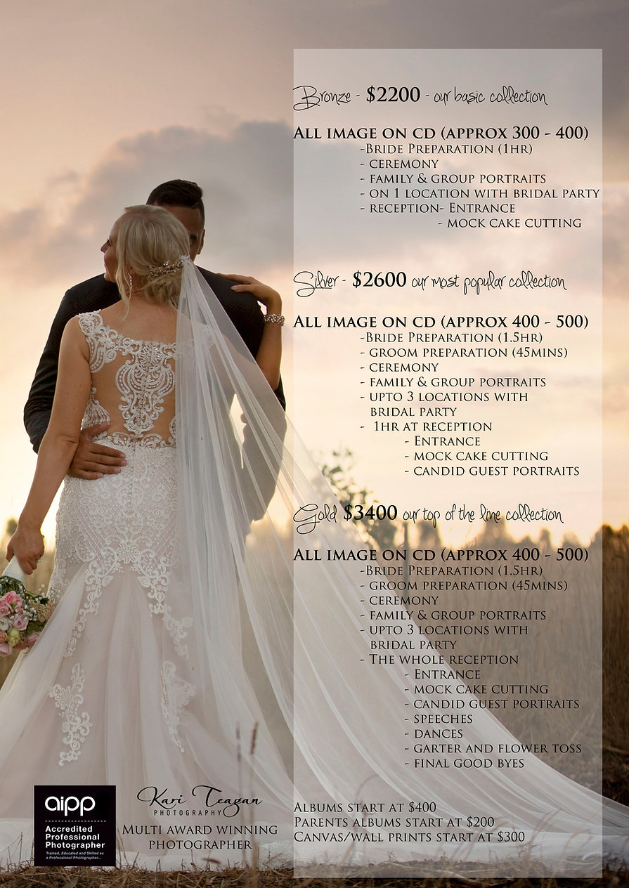 Geelong wedding photography prices