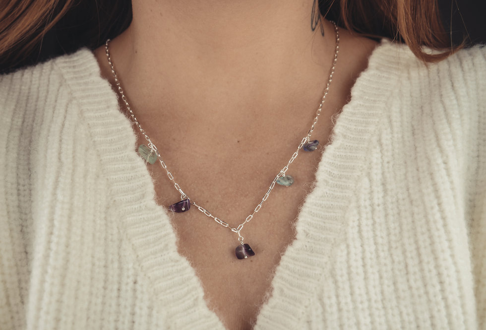 Collier FLORENCE - FLUORITE - ARGENT