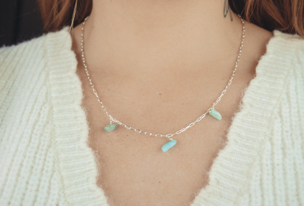 Collier TALI - AMAZONITE - ARGENT