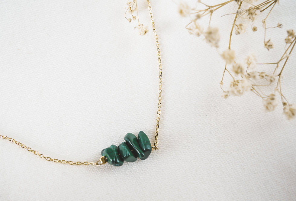 Collier INSPIRATIONAL - MALACHITE - OR