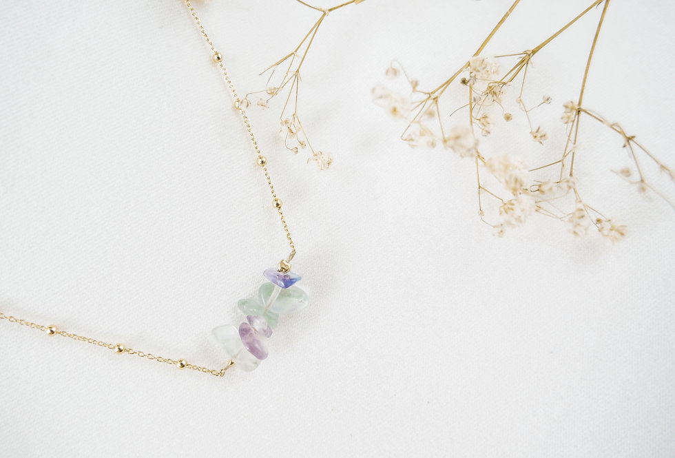 Collier INSPIRATIONAL - FLUORITE - OR