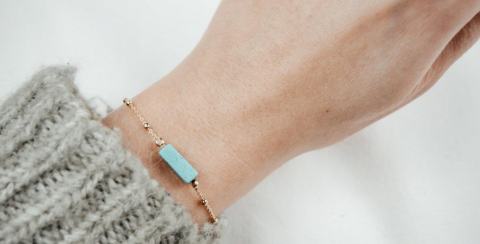 Bracelet GARANCE - TURQUOISE BLEUE - OR