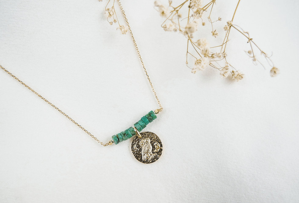 Collier CHOUETTE - TURQUOISE - OR