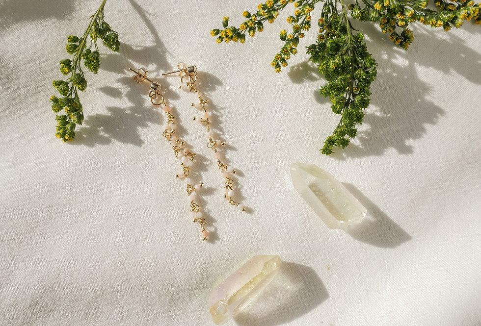 Boucles pendantes MAGNOLIA - OPALE - OR