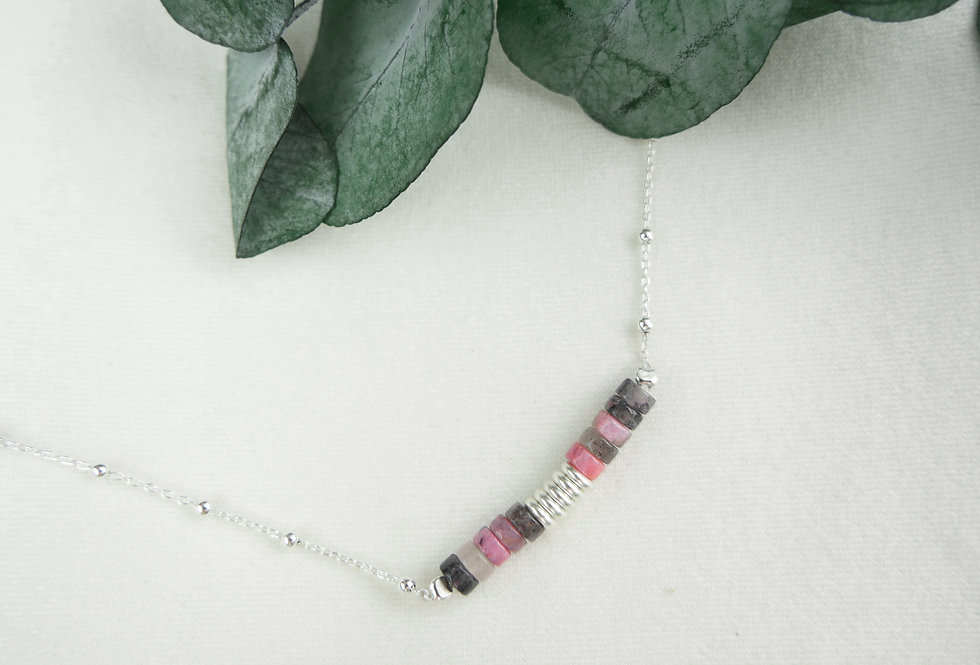 Collier PAOLO - RHODONITE - ARGENT