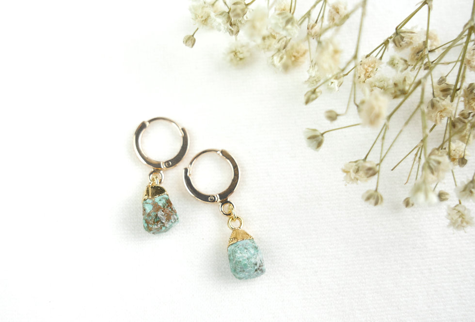 Boucles MINERAL - TURQUOISE - OR