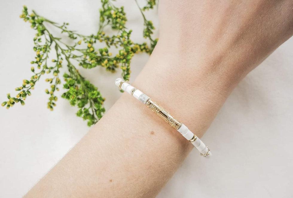 Bracelet LYS - HOWLITE MARBRE - OR